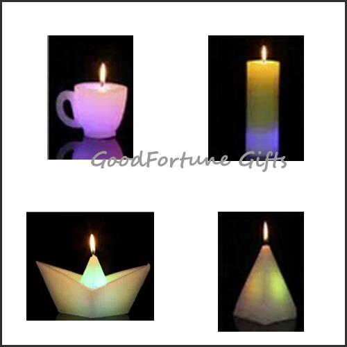 religious christmas halloween coloured Eco led glow flash candle wax