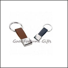 China Promotional printed logo pu leather loop keychain souvenir supplier
