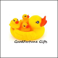 China Eco pvc rubber 4 in 1 floating bath yellow duck for kids printed logo toy doll with sound supplier