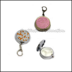China customed printed logo metal diamond roound pill box case organizer keychain keyrings gift supplier