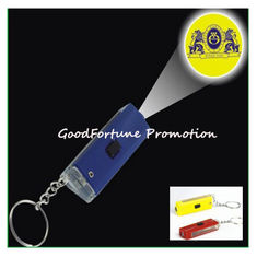 China promotion printed logo Abs projection flashlight torch keychain keyrings gift supplier