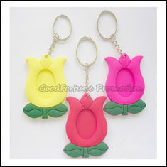 China promotion customed printed logo soft pvc rubber photo frame gift keychain keyrings supplier