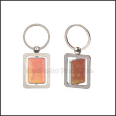 China Eco Zinc Alloy promotional logo advertising loop rotary silver keychain keyring gift supplier