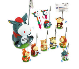 China New Cartoon animal ball pen with card holder clip promotion gift supplier
