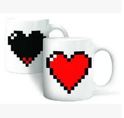 China New creative gift product Heart colour change temperature sensing ceramic mugs cup supplier