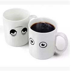 China New creative gift product eye colour change temperature sensing ceramic mugs cup supplier