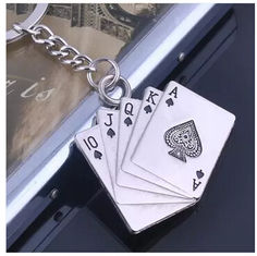 China New creative gift product metal poker playing cards keychain keyrings supplier