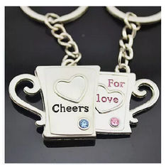 China New creative gift product cheer cup wedding gift keychain keyrings supplier