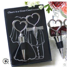 China New creative gift product wedding gift stainless steel bottle opener+stopper supplier