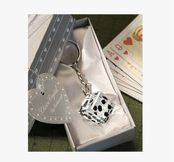 China New creative promotion gift product wedding gift crystal dice keychain keyrings supplier