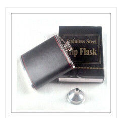 China New 6oz black leaher stainless steel sip wine pot hip flask supplier