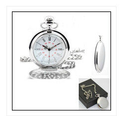 China New creative gift product Alloy Chrome polished chain pocket watch with clip supplier