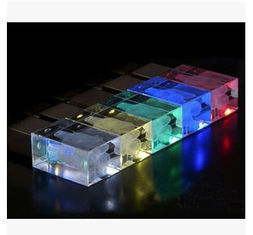 China New promotional customed logo crystal usb flash drive disk with led light supplier