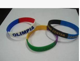 China New customed print logo promotional silicon bracelet sprots club outdoor advertising gift supplier