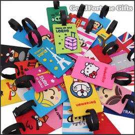 Customed promotional Eco silicon cartoon pattern tavel luggage tag lable printed logo