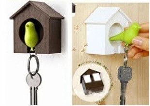China Plastic Little Bird House Whistle Finder Key Chains  promotion gift factory