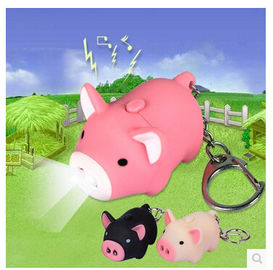 New creative gift product cartoon animal pig led light keychain keyrings with sound
