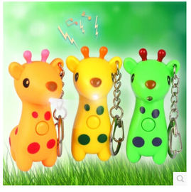 New creative gift product cartoon animal deer led light keychain keyrings with sound