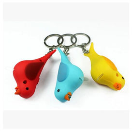 New creative gift product cartoon animal bird led light keychain keyrings with sound