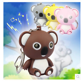 New creative gift product cartoon animal Koala led light keychain keyrings with sound