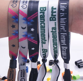 New customed print logo promotional polyester fabric woven sports bracelet gifts outdoor